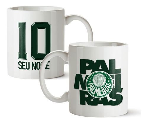 Imagem 1 de 2 de Caneca Palmeiras Cerâmica Com Nome Personalizado