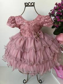 Vestido Luxo Bebê 0 A 12 Meses Menina Bonita