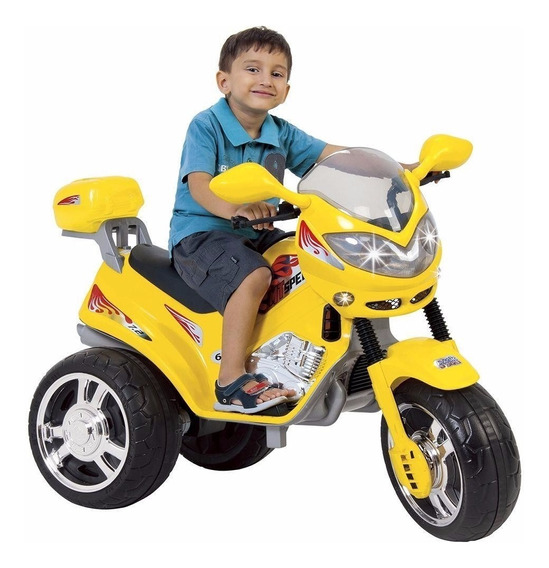 Mini Moto Eletrica Infantil Triciclo 6v Amarela Magic Toys