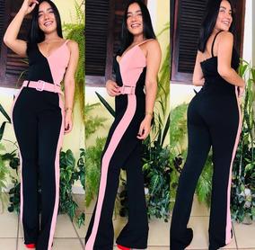 7658cb39b Macacao Pantalona Faixa - Macacão para Feminino Rosa no Mercado ...