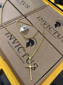 Kit Cadeado 3,5mm: + Cruz Palito Banhados A Ouro18k