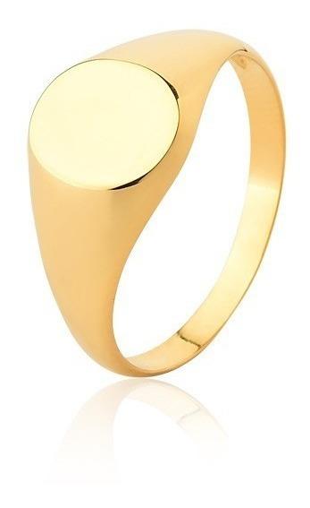 Anel Chapa Redondo Em Ouro 18kl-750 Unissex