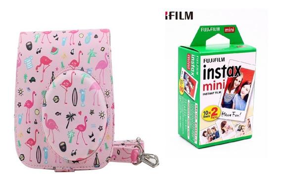 Bolsa Couro Sin Câmera Instax Mini Flamingo + Filme 20 Fotos