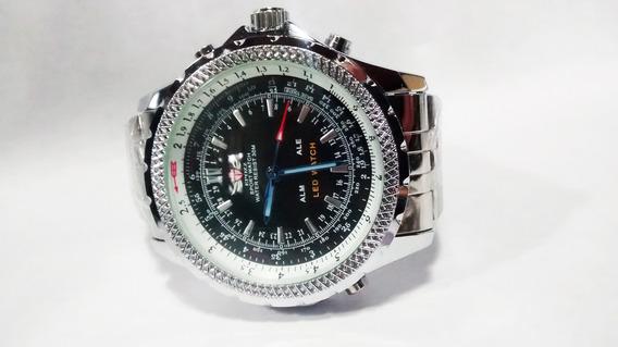 Relógio Epozz Cromado Fundo Preto Analógico E Digital