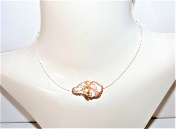 Collar Fino De Perla Cultivada Lavanda 30 Mm X 20 Mm