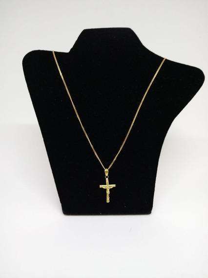 Cordão Corrente Chata (italy) 44,5 Cms. Ouro 18 K+crucifixo.
