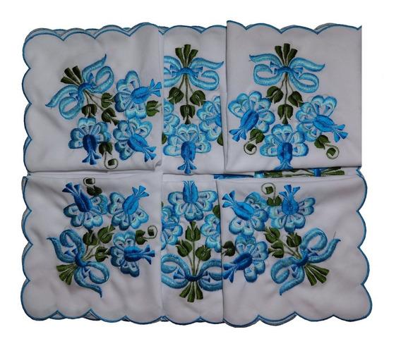 Jogo De Cozinha Bordado 16 Peça,c/ Toalha P/ Mesa 4 Cadeira.