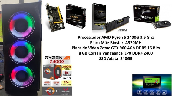 Pc Gamer Ryzen 5 2400g 8 Gb Ssd 240 Gb Gtx 960 4gb .