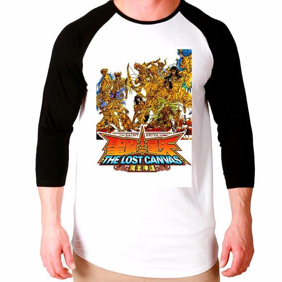 Camiseta Cdz Lost Canvas Anime Raglan Manga 3/4 Unissex