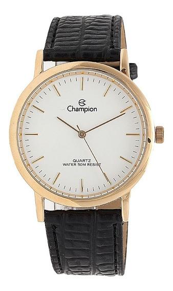 Relógio Original Champion Folhado A Ouro Pulseira Couro