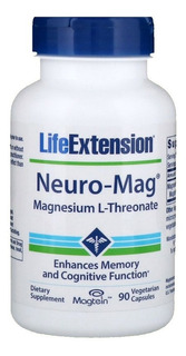 Neuro-mag Magnesium Threonate Magtein (magnésio L Treonato) 90 Cápsulas Life Extension Cognição Memória Pronta Entrega
