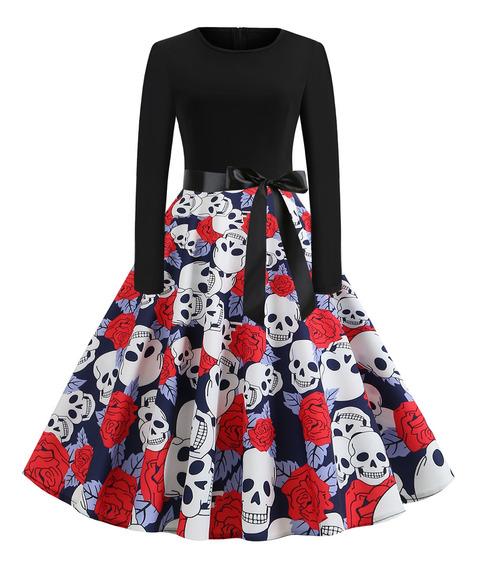 Vestido Mujer Manga Larga Halloween Una Línea Cinturón