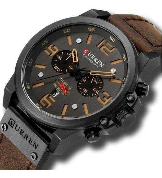 Relógio Masculino Curren 8314 Luxo. Marrom Escuro.