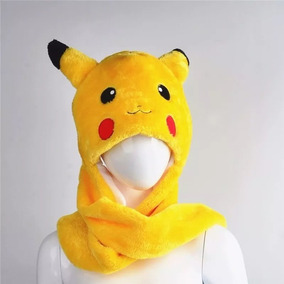 Touca Gorro Pikachu Pokémon Cachecol E Luvas Pelúcia Cosplay