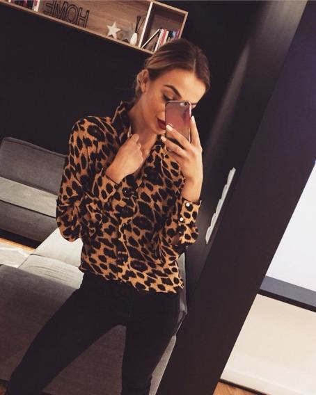 Camisa De Mujer Suelta Estampado De Leopardo