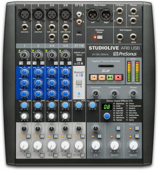Mesa De Som Presonus Studio Live Ar8 Usb 8 Canais - Bivolt