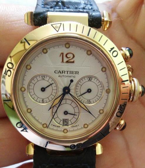 Cartier Pasha Chronoscaph Ouro 18k 38mm Completo Impecável