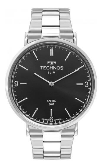 Relógio Technos Slim Masculino Prata Safira 2025ltn/1p