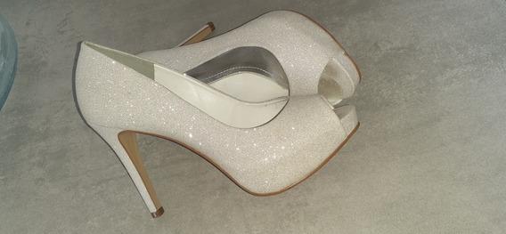 Sapato Feminino Branco Brilhante Para Noiva Tamanho 36