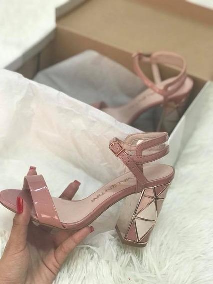 Sandalia Rosa Salto Quadrado Di Valentini