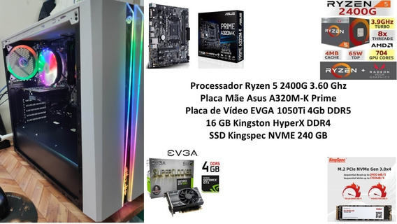Pc Gamer Ryzen 5 2400g 16 Gb Ssd 240 Gb Gtx 1050ti 4gb
