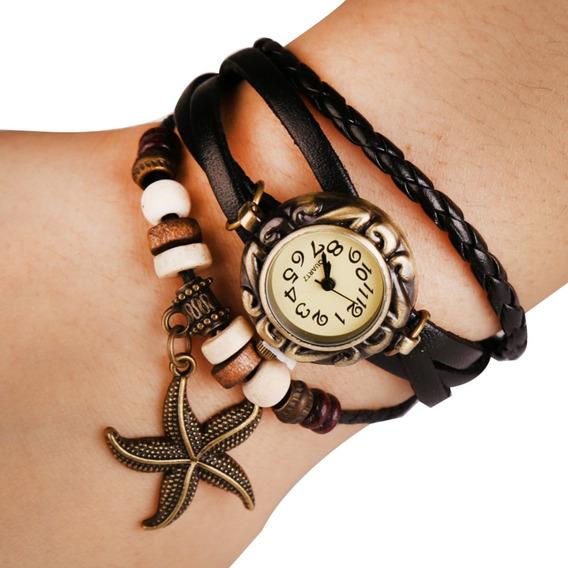 Relógio Feminino Pulseira Couro Pingente Estrela Do Mar