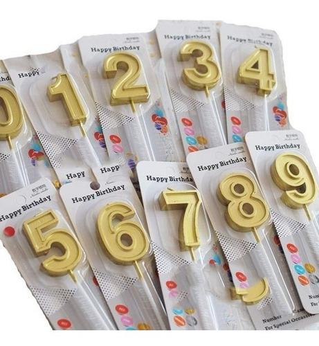 Velas Números, Doradas Y Plateadas 2 Unidades