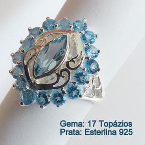 Anel De Prata 925 Com Garantia E Topázios Sky Blue 7035