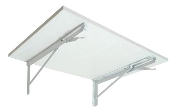 Mesa De Parede Dobrável 60cm Mdf Branco Prateleira P/cozinha