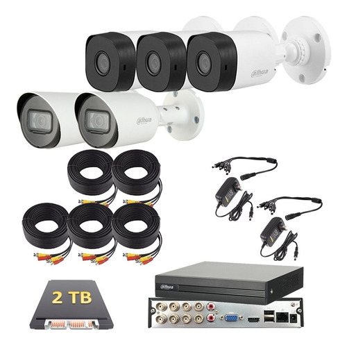 Imagen 1 de 6 de Kit Video Vigilancia 5 Cámaras 2 Mp Dahua 2 Tb 2 Microfonos