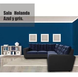 Sala Escuadra Holanda Lino Azul Y Vinil Gris Maderian