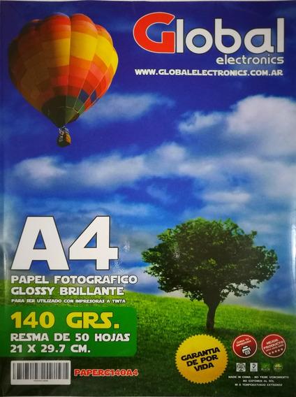 Papel Fotográfico A4 140gr Glossy Resma X 50 Hojas