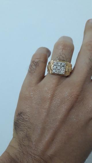 Anel Em Ouro 18 K 750 Com Diamantes