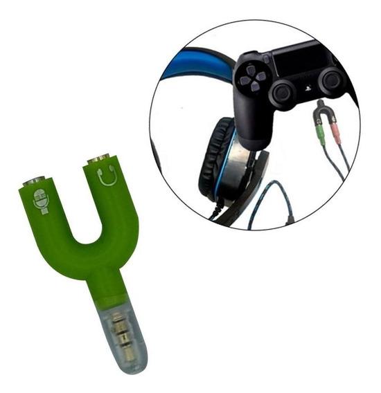 Adaptador P2 3 Vias Headset (microfone/aúdio Estéreo) Verde