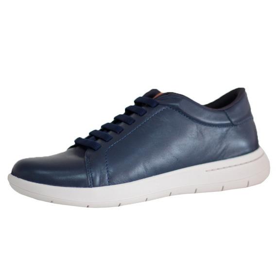 Sapato Tênis Masculino Usaflex Couro Azul Confortável 9801