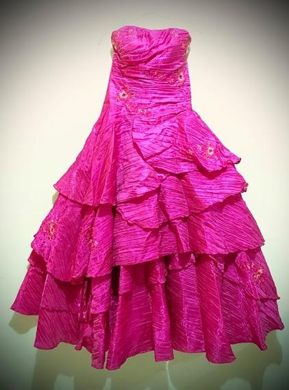 Hermoso Vestido De Xv Años Rosa Fucsia + Accesorios