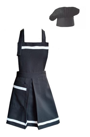 Conjunto Gorro De Chef + Delantal De Diseño Mujer