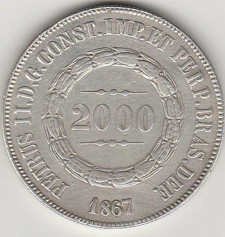 2000 Reis De 1867 Soberba, Muito Rara