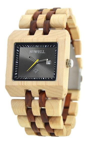 Relógio Madeira Bewell Original Quadrado Marrom Avermelhado