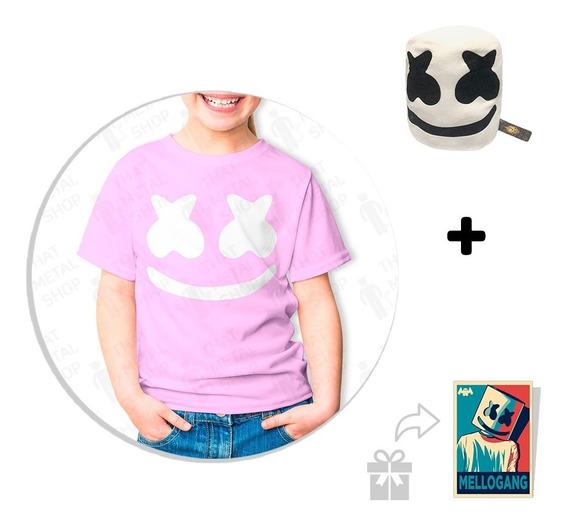 Kit Playera Rosa Para Niño Marshmello + Peluche + Sticker