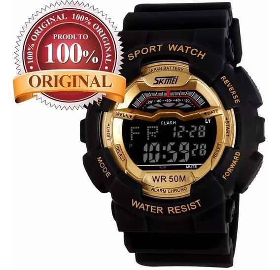 Relógio Skmei Esporte Man Militar Led Digital Preto Dourado