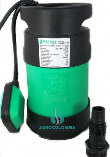 Bomba Sumergible Agua Plástica Barnes De 1/2 Hp Electrobomba