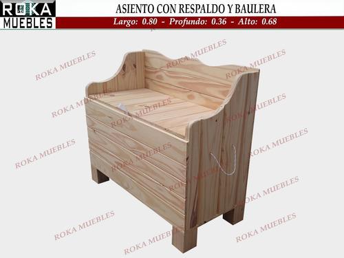 Imagen 1 de 4 de Asiento Con Respaldo Y Baulera De Madera 80 Baul Pino Roka