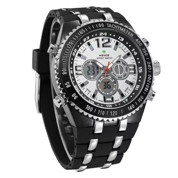 Relógio Masculino Weide Wh-1107 Anadigi Casual Preto E Prata