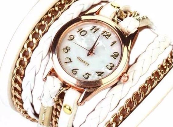 Relógio Feminino Dourado Couro Branco Vintage Barato