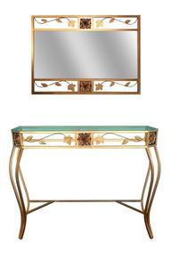 Kit Aparador Dourado Rosas 80 Cm Com Vidro E Sem Espelho