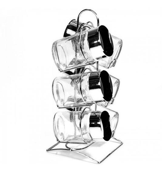 Set 6 Especieros De Vidrio Con Soporte Exhibidor Condimenter