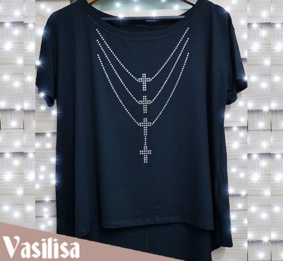 Roupa Blusa Bata Camiseta Plus Size Com Colar De Crucifixos