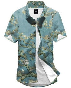 Camisa Botão Van Gogh Art Acid Fractal Rave Amendoeira