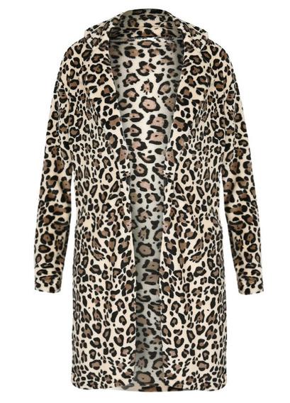 Abrigo Impresión Leopardo Mujeres Mangas Largo Franela Pelu